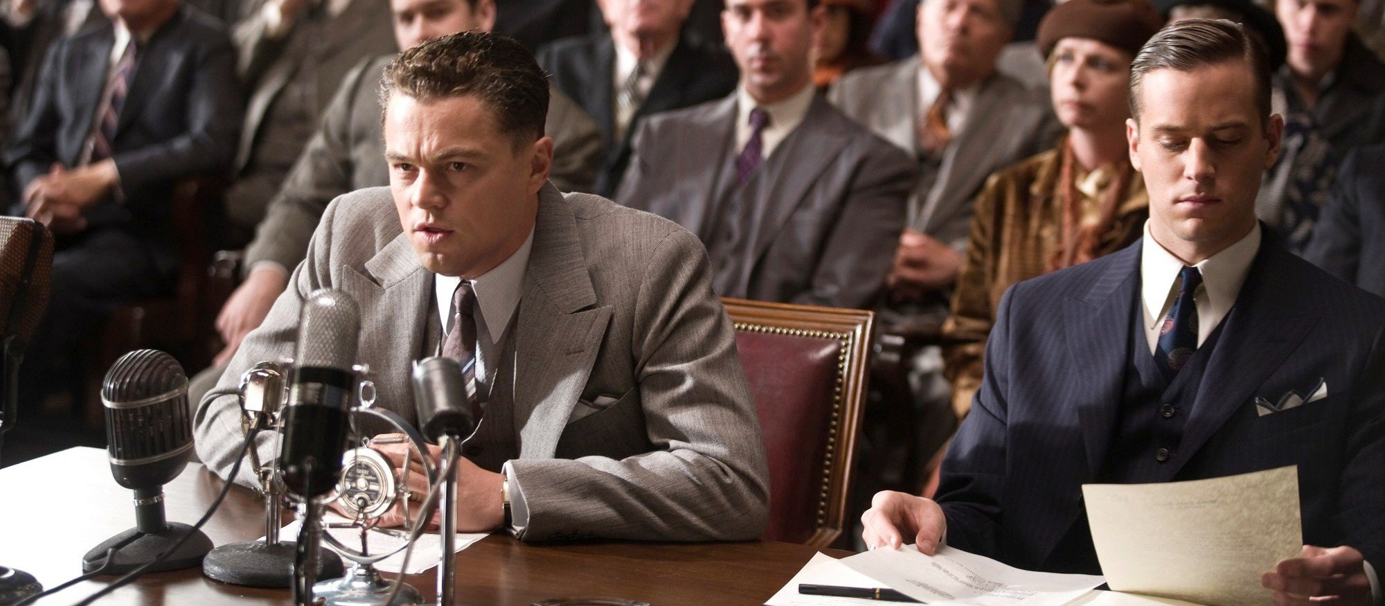 "(L-r) LEONARDO DiCAPRIO as J. Edgar Hoover and ARMIE HAMMER as Clyde Tolson in Warner Bros. Pictures' drama ""J. EDGAR,"" a Warner Bros. Pictures release."